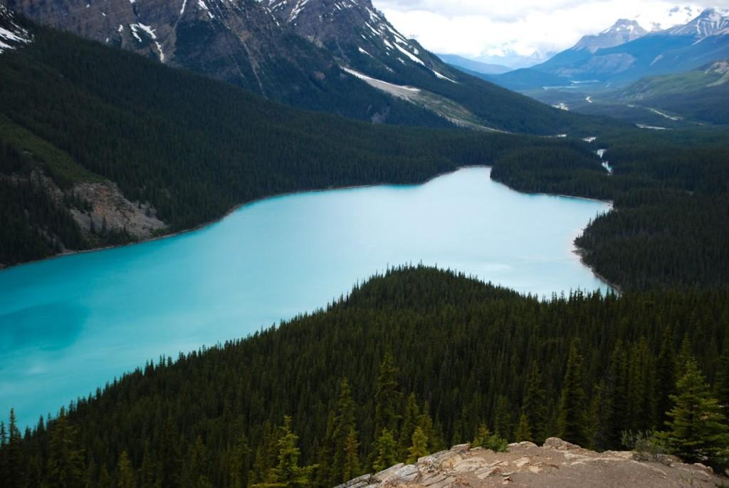 Tvar jezera Peyto Lake připomíná ducha